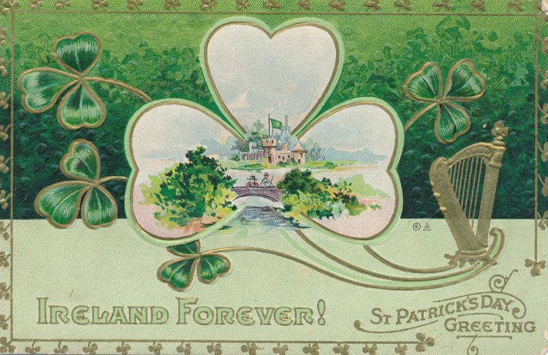 St Patrick's Day Greetings - Ireland Forever - E. Nash - Divided Back