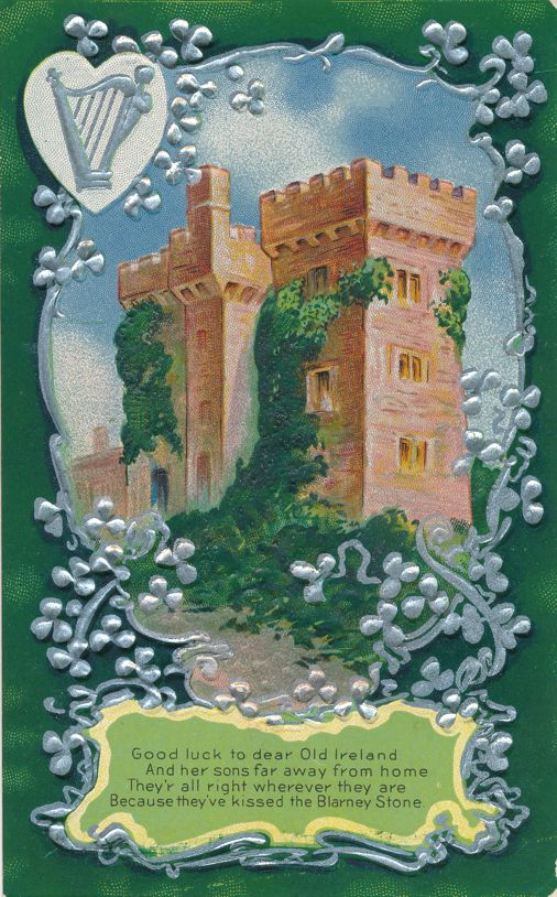 St Patrick's Day Greetings - Good Luck to dear Old Ireland - Castle - Divided Back