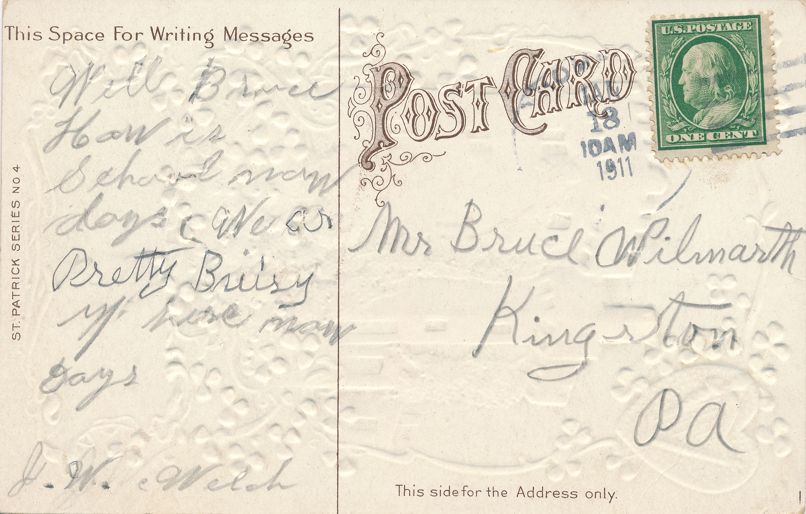 St Patrick's Day Greetings - Castle in Dear Old Ireland - pm 1911 at ch - Divided Back