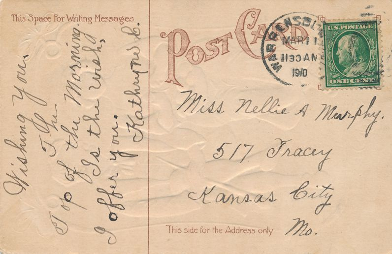 St Patrick's Day Greetings - Romance Witty Converstion to Closer Relations - pm 1910 at Warrensburg MO - Divided Back
