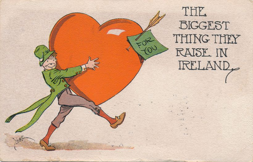 Valentine Greetings - Biggest thing grown in Ireland a/s Young - pm 1916 at Dublin NH - Divided Back
