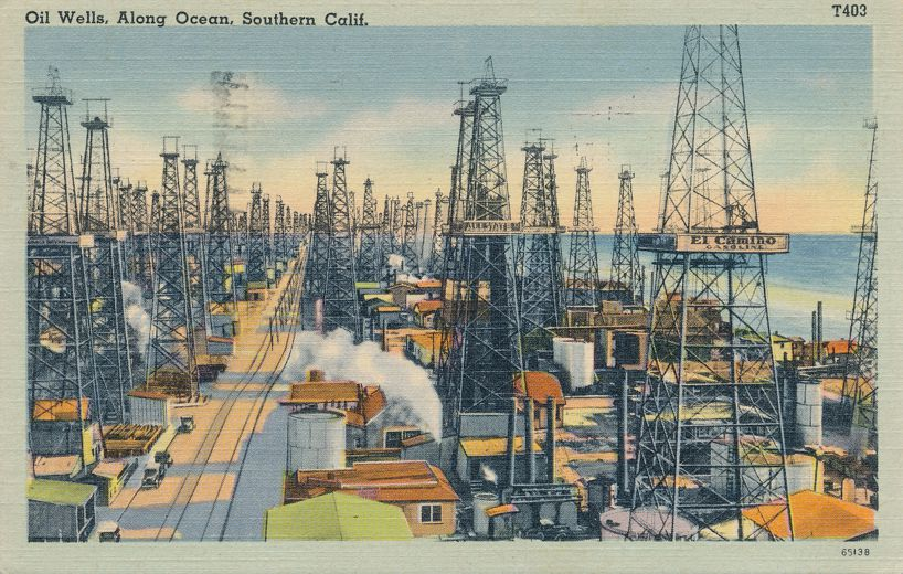 Oil Wells along the Pacific Ocean in Southern California - pm 1943 at Santa Monica CA - Linen Card