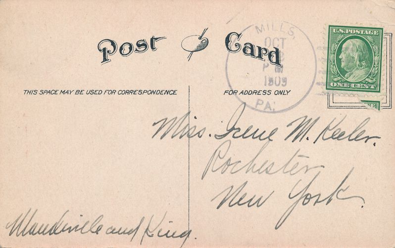 I'm Sorry Greetings - Clear and Simple Message - pm 1909 at Mills PA - Divided Back