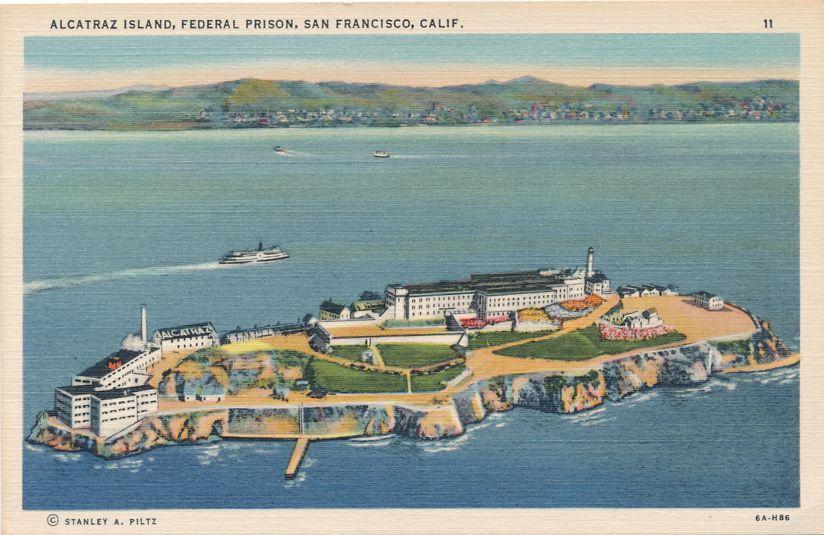 San Francisco Bay, California - Federal Prison on Alcatraz Island - Linen Card