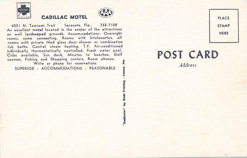 Cadillac Motel on North Tamiami Trail - Sarasota, Florida - Roadside