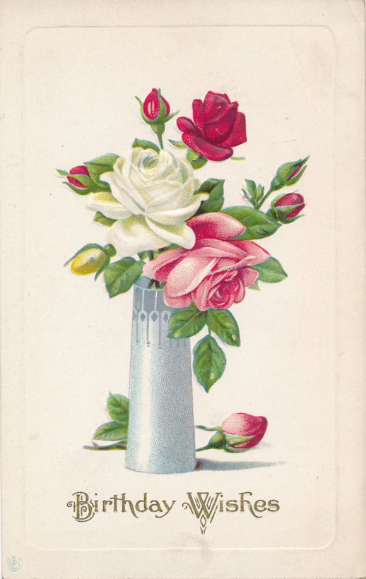 Birthday Wishes - Greetings - Vase of Roses - Divided Back