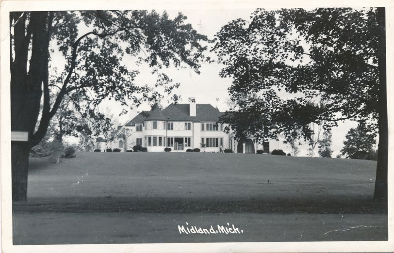 RPPC Mansion - Large Home - Midland, Michigan - pm 1948 at Manitowoc WI - Real Photo