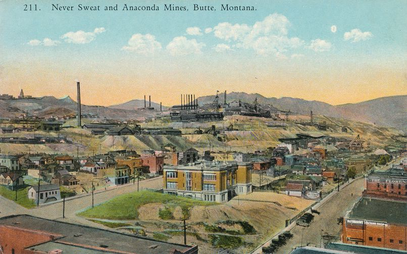 Never Sweat and Anaconda Copper Mines - Butte, Montana - Divided Back