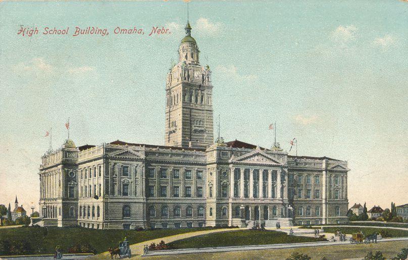 High School Building of Omaha, Nebraska - DPO 1911 at Fort Crook NE - Divided Back
