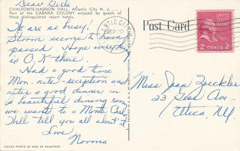 Atlantic City, New Jersey - Chalfonte-Haddon Hall - Cabana Colony Resort Hotel - pm 1953 - Linen Card