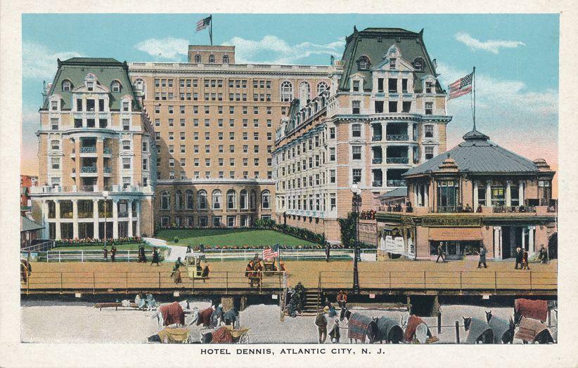 Atlantic City, New Jersey - Hotel Dennis on Boardwalk - White Border