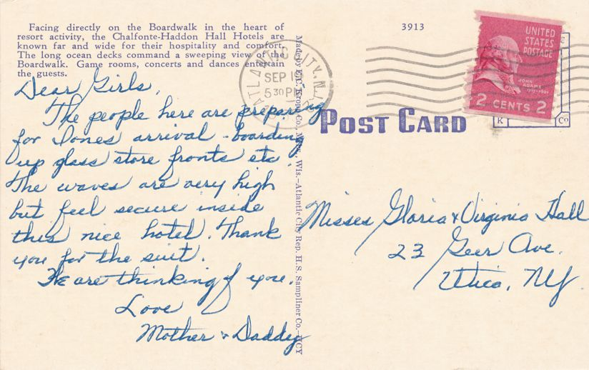 Atlantic City, New Jersey - A Chalfonte Haddon Hall Hotel - pm 1935 - Linen Card