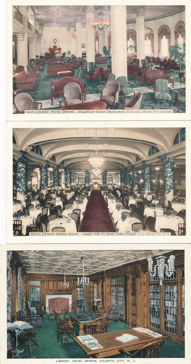 (3 cards) Atlantic City, New Jersey - Hotel Dennis - Lounge, Dining Room, Library - White Border