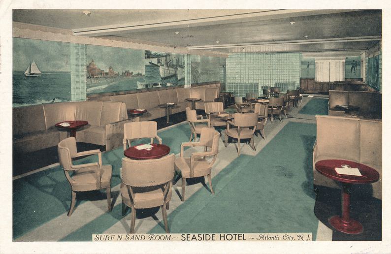 Seaside Hotel - Atlantic City, New Jersey - Surf and Sand Room - pm 1940 - White Border
