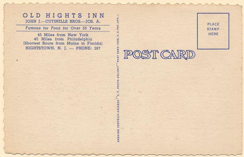 Old Hights Inn - Bar - Grill - Restaurant - Hightstown, New Jersey - Linen Card