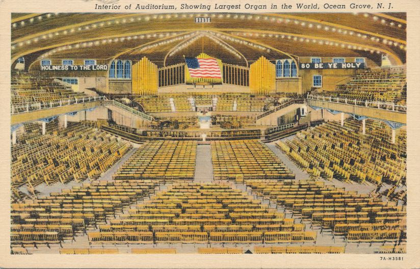 Auditorium with Largest Organ in World - Ocean Grove, New Jersey - pm 1938 - Linen Card