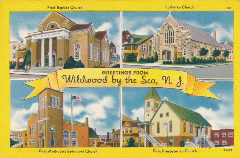 Greetings from the Churches of Wildwood by the Sea, New Jersey - Linen Card