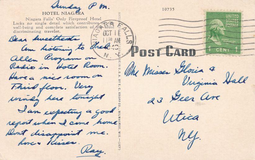 Hotel Niagara at Niagara Falls, New York (or is it New Jersey Printing Error) - pm 1940 - Linen Card