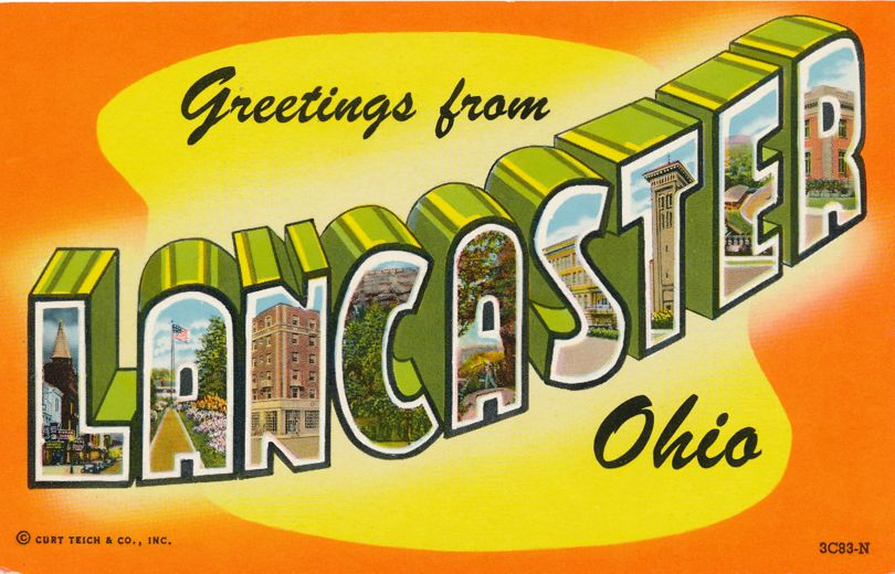 Greetings from Lancaster, Ohio - Chrome Large Letter