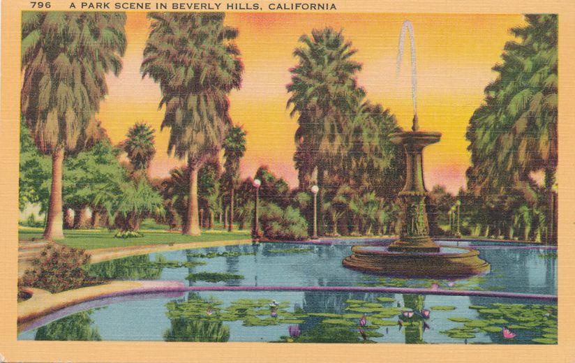 Fountain in Park Scene - Beverly Hills, California - Linen Card