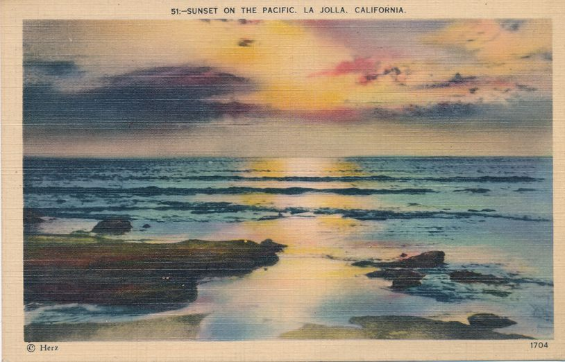 Sunset over the Pacific Ocean - La Jolla, California - pm 1939 at San Diego CA - Linen Card