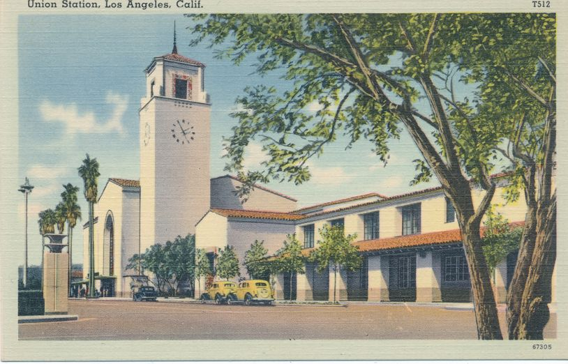Union Train Station - Depot - Los Angeles, California - Linen Card