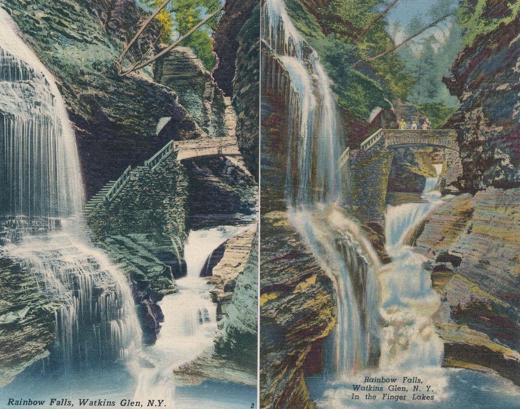(2 cards) Rainbow Falls - Watkins Glen State Park, New York - Linen Card