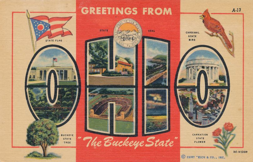 Greetings From the Buckeye State, Ohio - Cardinal - Carnation - Linen Card