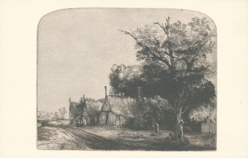 Rembrandt Etching Landscape with Gabled Cottages - Washington, DC