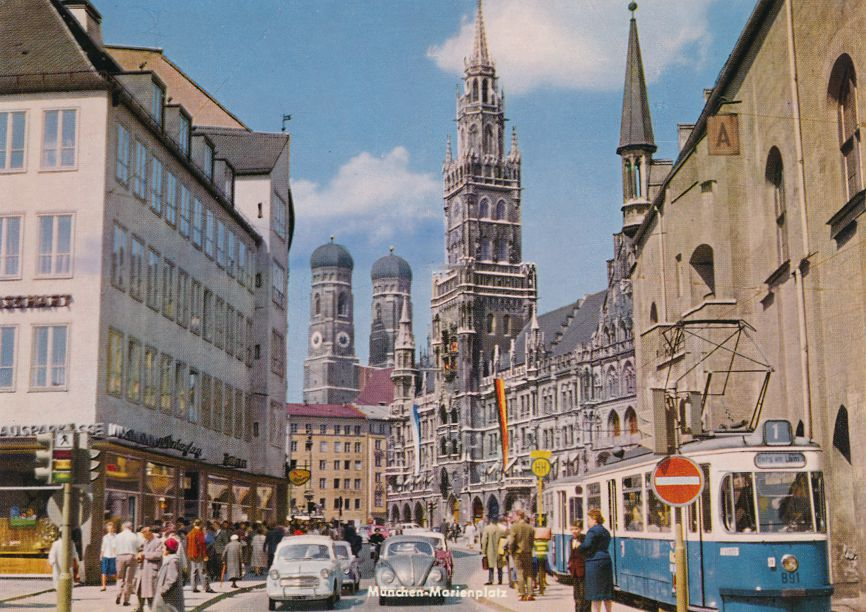 Munchen, Germany - City Hall and Cathedral - Volkswagon and Trolley