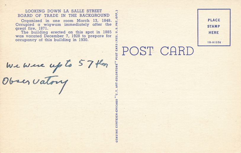 LaSalle Street and Chicago Board of Trade Building - Chicago, Illinois - Linen Card