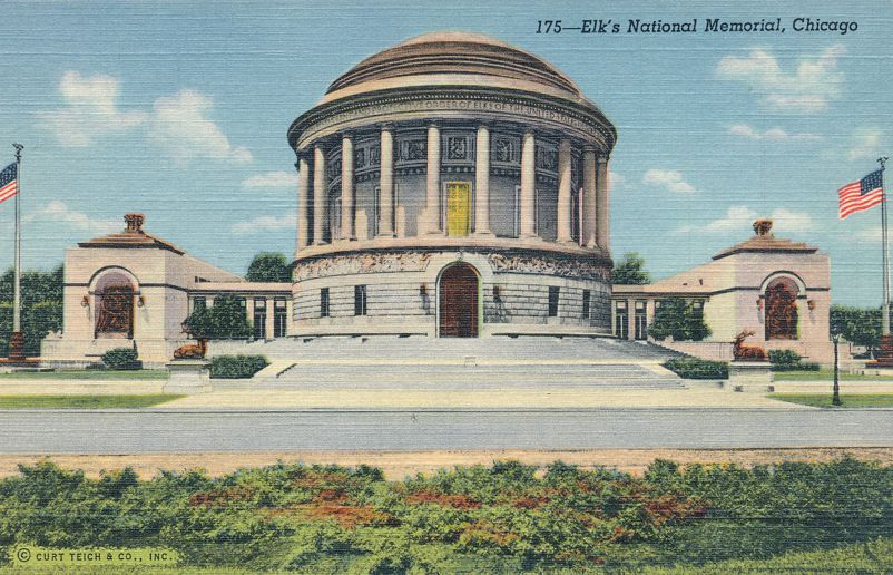 Ellk's Club National Memorial - Chicago, Illinois - Linen Card