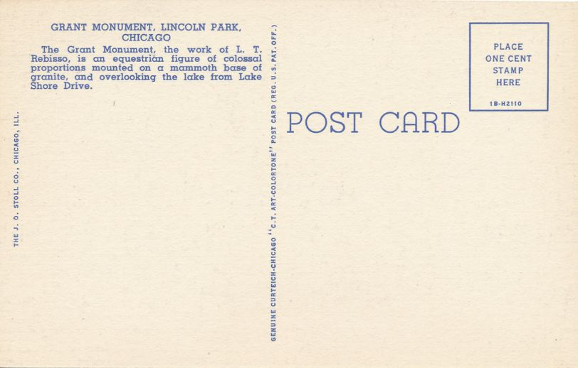 Grant on Horse Monument in Lincoln Park - Chicago, Illinois - Linen Card