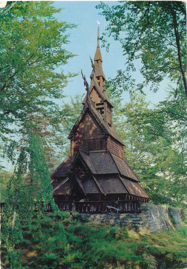 Bergen, Norway - Fantoft Stave Church from 1150 - pm 1967