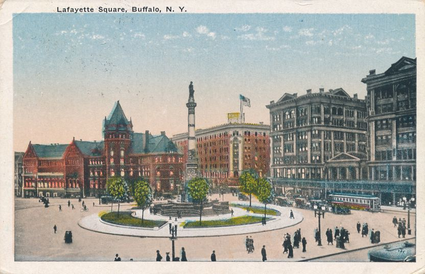 Buffalo, New York - Lafayette Square - Soldiers and Sailors Monument - pm 1921 - White Border
