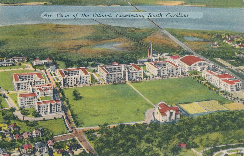 Air View of the Citadel - Charleston, South Carolina - Linen Card