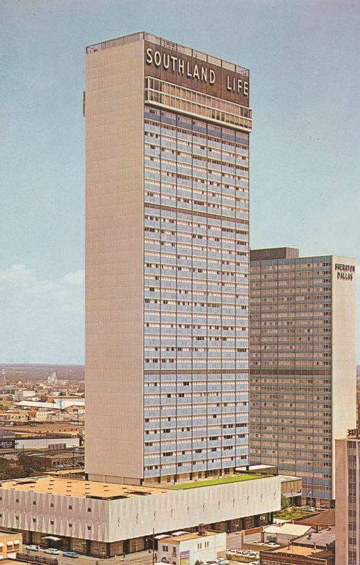 Southland Center and Sheraton Hotel - Dallas, Texas - pm 1962