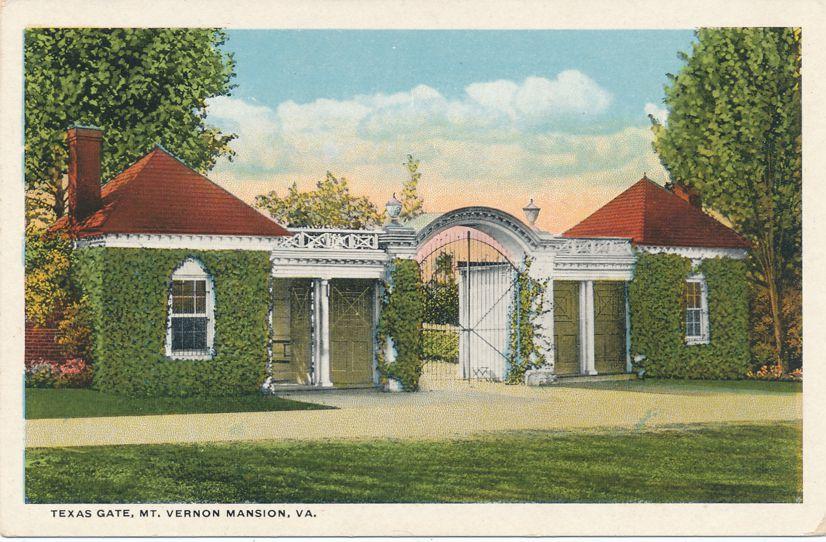 Texas Gate Entrance at Mount Vernon Mansion, Virginia - White Border