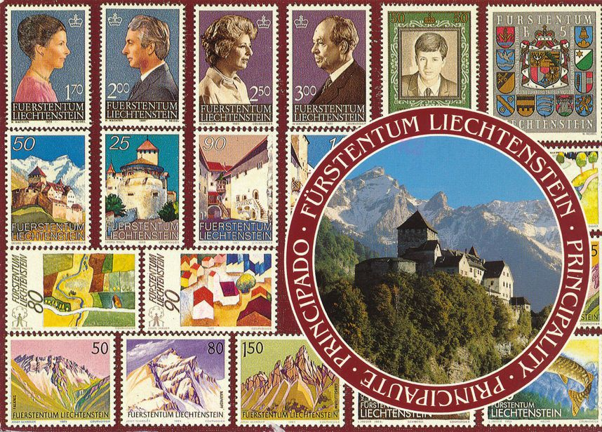 Postage Stamps of Liechtenstein pictured on Postcard - pm 1992 at Vaduz