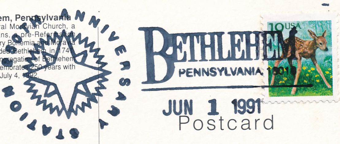 US sc# 2479 used Special Cancel on Postcard - Bethlehem, Pennsylvania 250th Anniversary - pm 1991