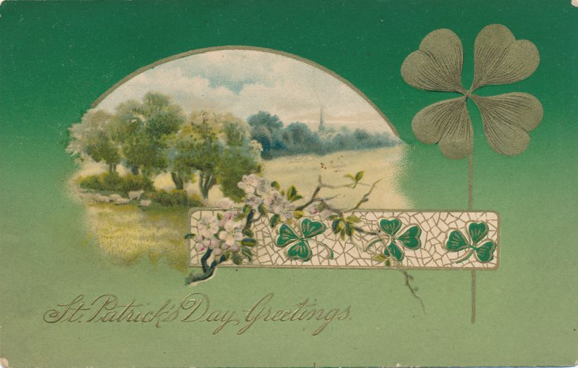 St Patrick's Day Greetings - Shamrock, Flowers, and Rural Scene - pm 1909 at Middletown CT - Divided Back