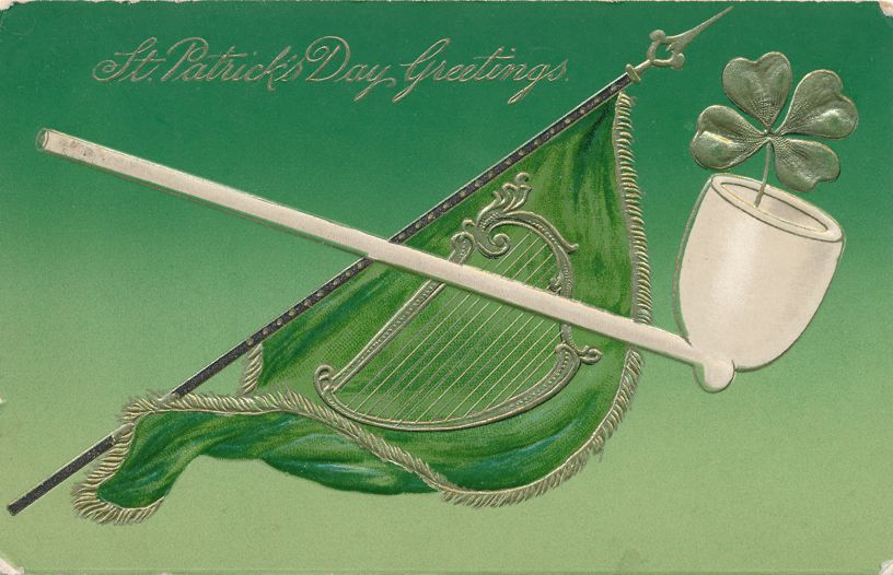 St Patrick's Day Greetings - Pipe with Shamrock - Harp on flag - pm 1909 at Escanaba MI - Divided Back