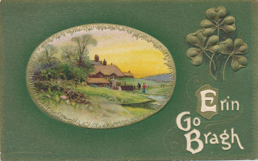 St Patricks Day Greetings - Rural Scene - Erin Go Bragh - Divided Back