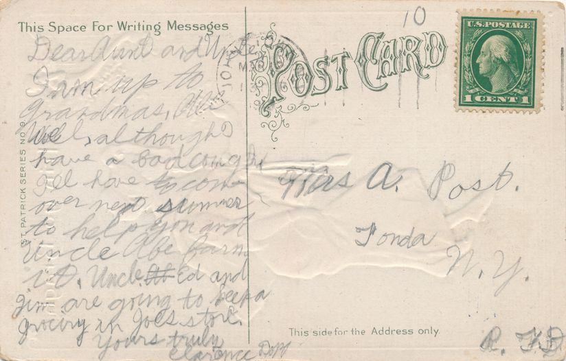 St Patricks Day Greetings - Colleen a Flirt with roguish eyes and Bouquet - pm 1913 at Johnstown NY - Divided Back