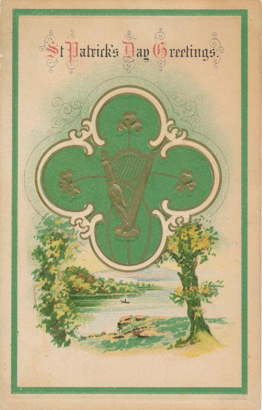 St Patricks Day Greetings - Harp - Shamrock - Rural scene - pm 1917 at St Joseph MO - Divided Back