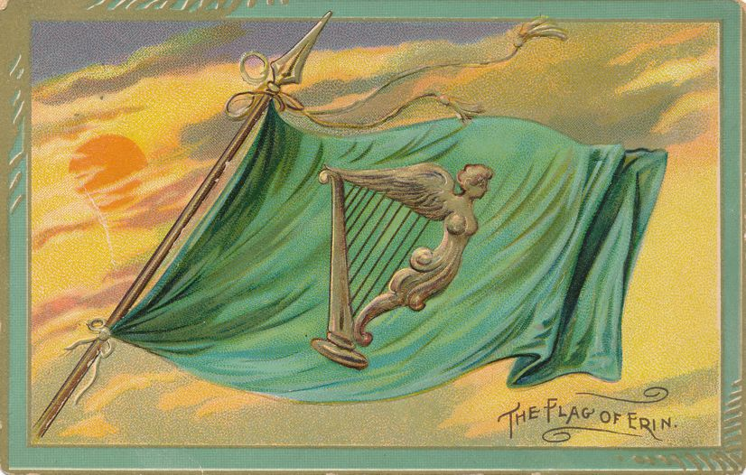 St Patricks Day Greetings -Irish Harp on Flag of Erin - pm 1912 at Indianapolis IN - Divided Back - Tuck