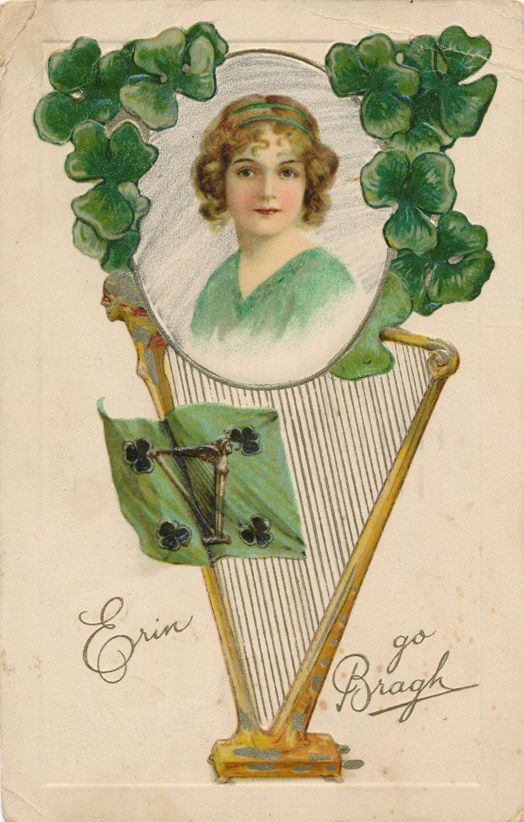 St Patricks Day Greetings - Pretty Lady and Harp - Erin go Bragh - pm 1929 at Boston MA - Divided Back