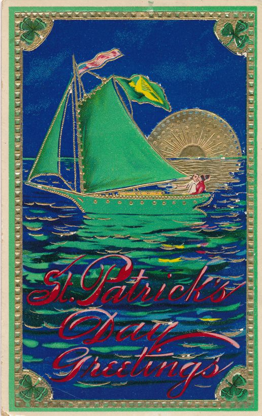 St Patricks Day Greetings - Couple in Sailboat at Sunset - Solomon Brothers - Divided Back