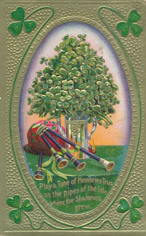 St Patricks Day Greetings - Bag Pipes and Shamrocks - pm 1910 at Boston MA - Divided Back