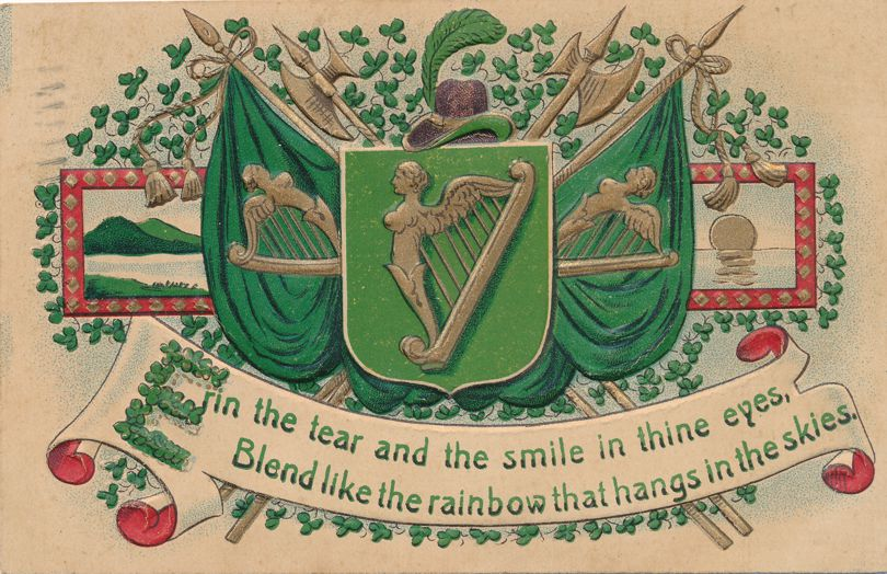 St Patricks Day Greetings - Harps and other Irish Symbols - Pub ASB - pm 1909 at London ONT - Divided Back